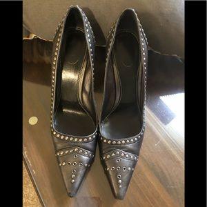 Prada black/grey heels w/ metal hardware